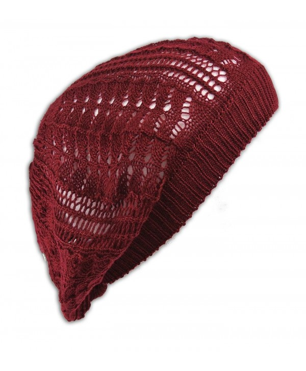 Crochet Beanie Hat Knit Beret Skull Cap Tam - Burgandy - CW11GLEEKF7