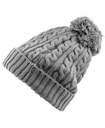 dc93c7bd2bf Heat Logic Womens Beanie (Grey Cable Knit With Cozy Lining and Pom) -  CM182T4Y5UL