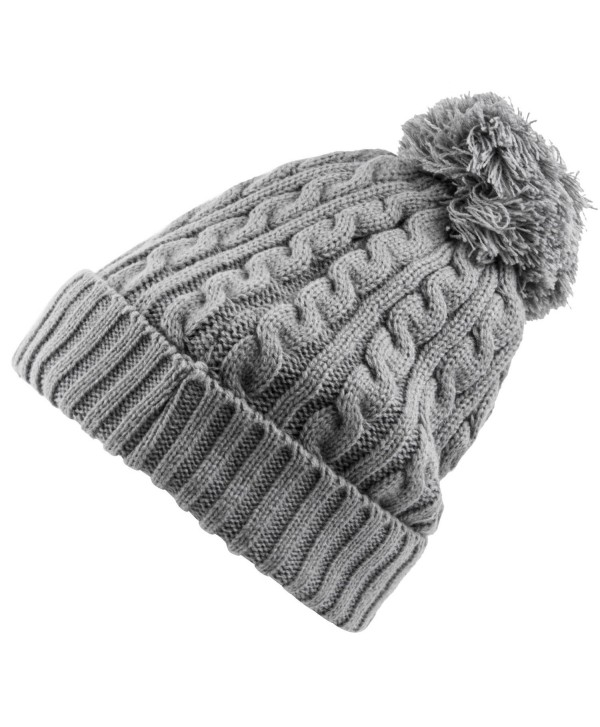 Heat Logic Womens Beanie (Grey Cable Knit With Cozy Lining and Pom) - CM182T4Y5UL