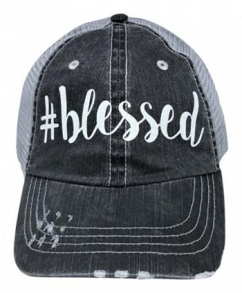 Loaded Lids Women's Blessed Distressed Bling Baseball Cap - Grey/White - CR12NAI5SKT
