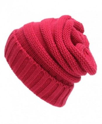 Sven Home Soft Slouchy Beanies Knit Warm Winter Unisex Cap Thick Women's Men Hat - Rose - CF12NH51C2B