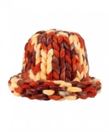 SUKEQ Women Dome Cap Chunky Bulky Cable Knitting Wool Beanie Hats - Orange - C61888KZYA4