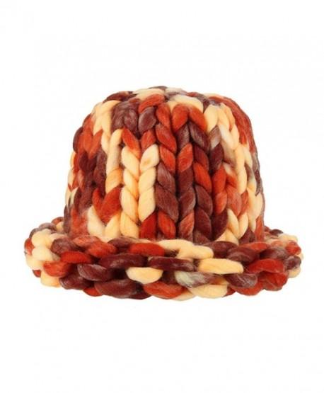 SUKEQ Women Dome Cap Chunky Bulky Cable Knitting Wool Beanie Hats - Orange  - C61888KZYA4 4b94f00f7d1f
