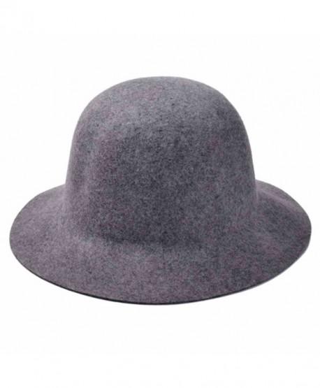 1b946e7fdde ZLYC Women 100% Wool Minimalist Fashion Winter Felt Bowler Hat Floppy  Cloche Cap - Gray