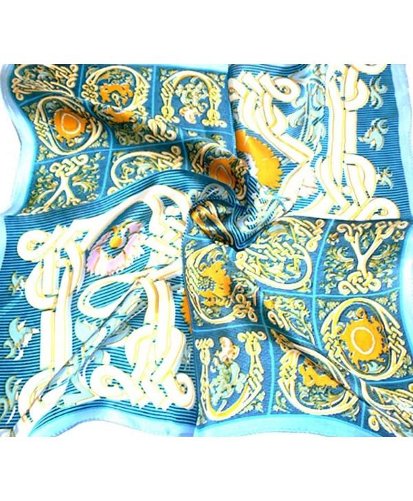 Gold Blue 100% Charmeuse Silk Scarf Bandana Headband By Silksalon A954 - CE11YWPC33X