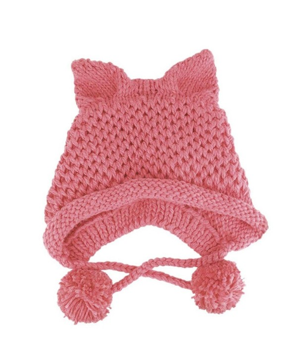 BIBITIME Women's Hat Cat Ear Crochet Braided Knit Caps Warm Snowboarding Winter - Pink - CP1896Q850L