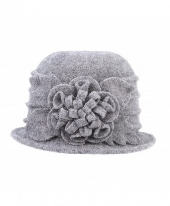 Prefe 1920s Gatsby Womens Flower 100% Wool Warm Beanie Bow Hat Cap Crushable - Grey - CE188L3HEWG