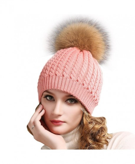 dd9fd0241a7 Women Winter Knitted Pom beanie-Fur Hat Big Raccoon Pom Pom Hat Women  Crochet Knit Bobble ...