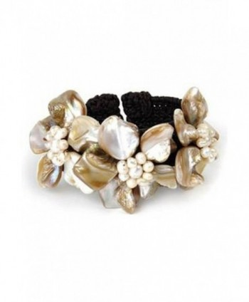 Floral Shell studded Cuff Bracelet - C7189NZWCCN