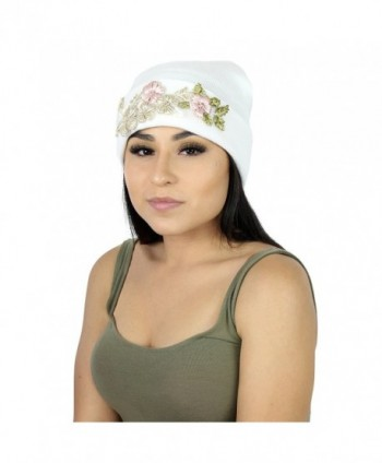 Elliott and Oliver Co. Floral Embroidered Ribbed Knit Beanie Hat- Flower Winter Cap With Stretch Cuff - White - CJ186IQCAHS