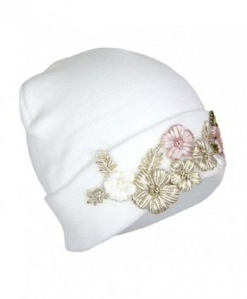 ffd28aca05b Floral Embroidered Ribbed Knit Beanie Hat- Flower Winter Cap With  Elliott  Oliver Co Embroidered Stretch ...