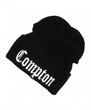 3D Embroidered Compton Warm Knit Beanie Cap By FlexFit Yupoong - Black - CM12002G4OP