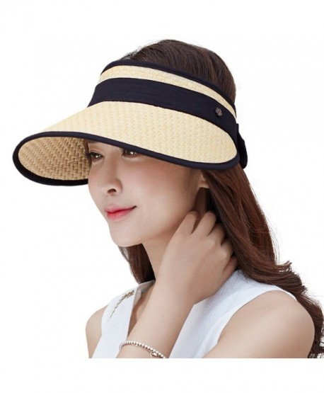974e29fc095 SiggiHat Womens UPF Wide Brim Straw Visor Cap Rollable Sun Hats Free Size -  89044 beige -