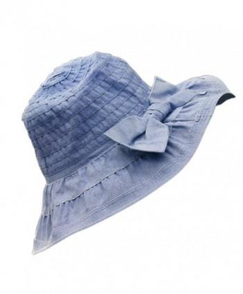 Song Bowknot Women Floppy Sun Hat Foldable Wide Brim Summer Beach Cap Visor - Navy Blue - CL17YOO4U0K