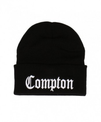 Embroidered Compton Warm Beanie Black