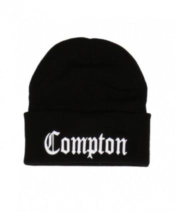 Embroidered Compton Warm Beanie Black