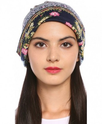 Ababalaya Women's Breathable Floral Turban Cap Chemo Cancer Beanie Cap Nightcap - Blue - CI1827YY5KY
