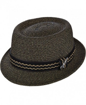 Santana Camden Tweed Braid Pork Pie Hat - Black - CB12COCN5BT
