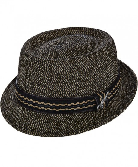 Santana Camden Tweed Braid Pork Pie Hat - Black - CB12COCN5BT