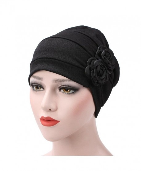 WETOO Womens Chemo Turban Hats Flower Headscarf Scarf Beanie Cap For Cancer Patient - Black - C718898KUH2