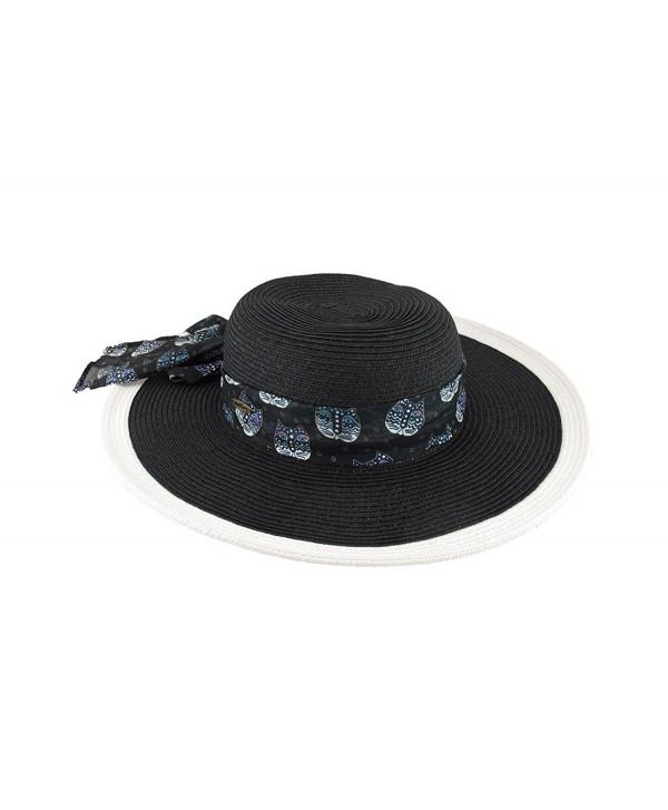 Laurel Burch Art Scarf Band Colored Trim Paper Braid Sun Hat - Black - CX125V3EFFD