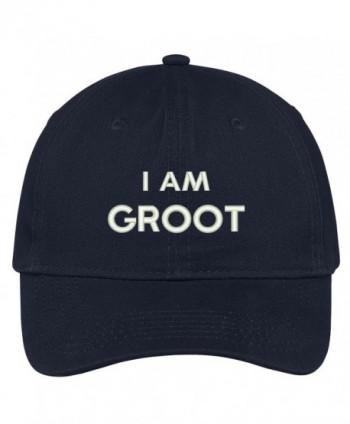 Trendy Apparel Shop I Am Groot Embroidered Soft Low Profile Adjustable Cotton Cap - Navy - CX12O74LA9J