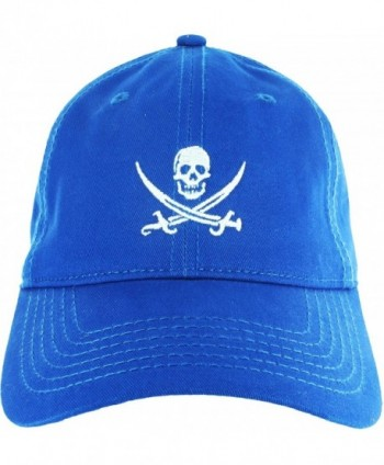 Dad Hat Cap - Jolly Roger Embroidered Adjustable Baseball Cap - Blue - CA12HV6IX5B