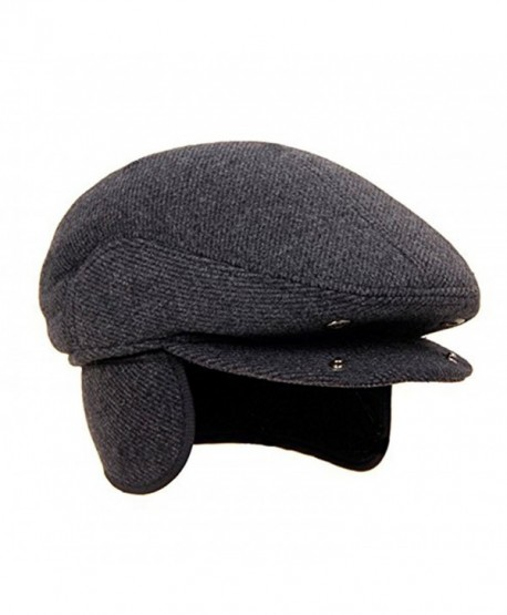 Surblue Men Fall Winter Peaked Flat Cap with Earmuffs Grey - CV187K252O2