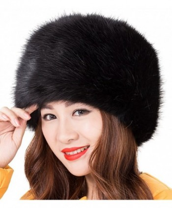 Odema Women's Warmth Furry Russian Winter Beanie Hat - Black - CJ12NZBC66H