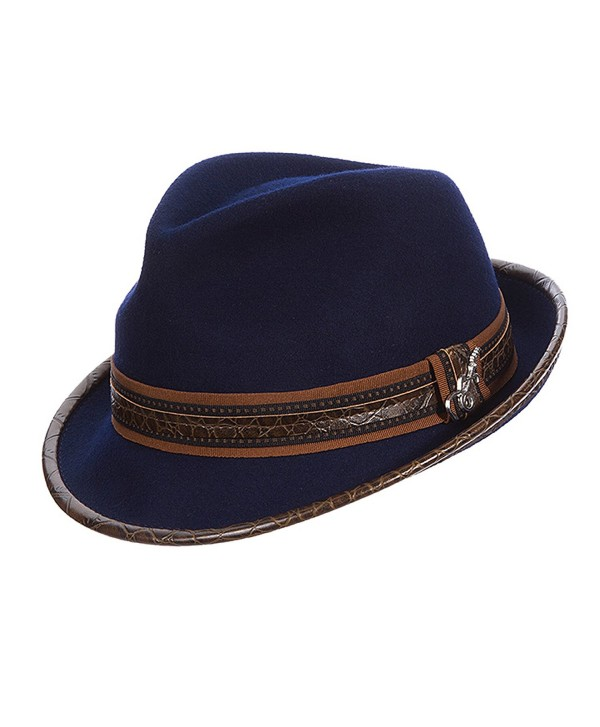 Carlos Santana Wool Felt Fedora with Guitar Pin - Meditation (SAN216) (L/XL- NAVY) - C211PJQ63GH
