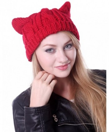 HDE Women's Knit Beanie Cat Ear Crochet Braided Winter Ski Hat Knitted Cap - Red - CG11IODSPCR