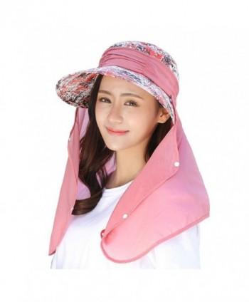 c57529ef Aiphun Womens Sun Hat UV Protection Wide Brim Visor Cap Foldable Flap  Floppy Hats - Orange