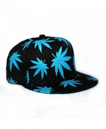 Unisex Hip Hop Marijuana Weed Leaf Snapback Hat- Adjustable Baseball Cap - Blue - C211YJ2YRID