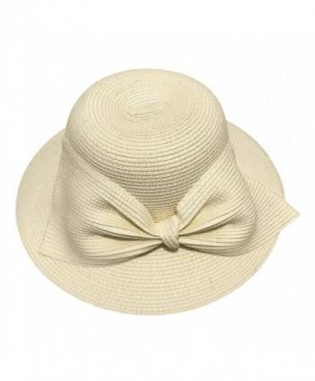 E.Joy Online Womens SPF50 Packable Summer Sun Beach Straw Hat Wide Brim Floppy 55-58cm - 7w08_cream - C3182T3L7OK
