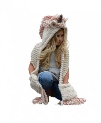 Highpot Kids Unicorn Winter Crochet Hat with Scarf Pocket Hooded Knitting Beanie - B - CT187N2WQMC
