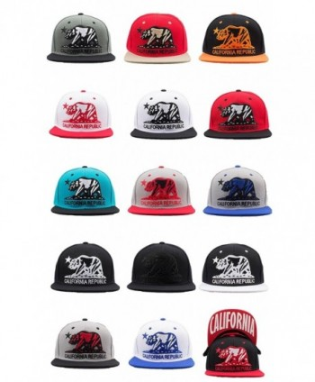 Cap2Shoes California Republic Bear Flat Visor Snapback Multi Color - Grey/Blue - C21291P2EWX
