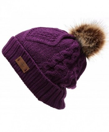 ANGELA & WILLIAM Trendy Winter Warm Soft Beanie Cable Knitted Hat Cap For Women - Purple - CL12MAVNPXR