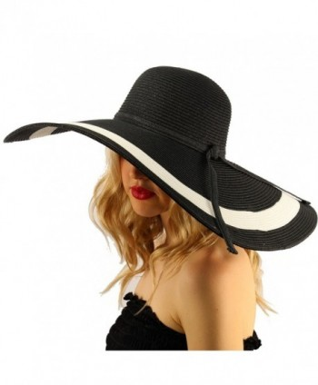 "Summer Elegant Derby Floppy Hat - ""7-1/4"""" Brim 2 Tone - Black"" - CQ17Y20GL87"