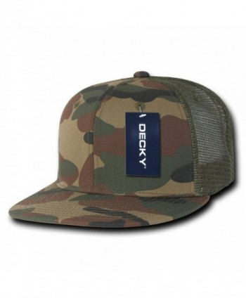 DECKY Cotton Flat Bill Trucker Cap - Woodland/Woodland/Olive - CD11CDFLKIX