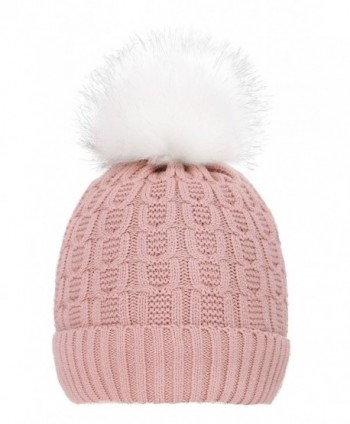 ThunderCloud Men & Women's Luxurious Faux Fur Pompom Thick Knit Winter Beanie - Pink - C21884MRTIN