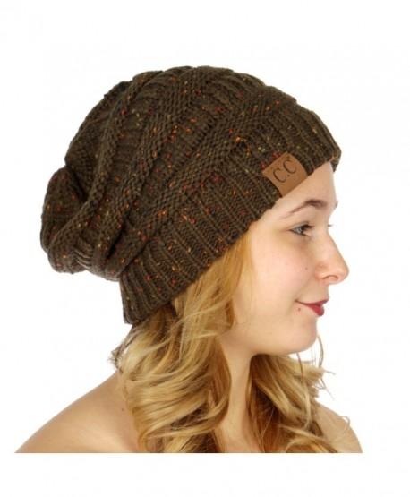 fashion2100 Thick soft warm Confetti knit CC beanie - Olive - C212O3A16TB 83a2001b468
