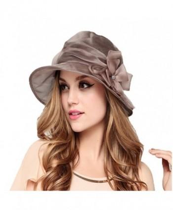 Maitose Women's Big Bow Mulberry Silk Sun Protection Hat - Light Pink - CR11AZ6EOA1