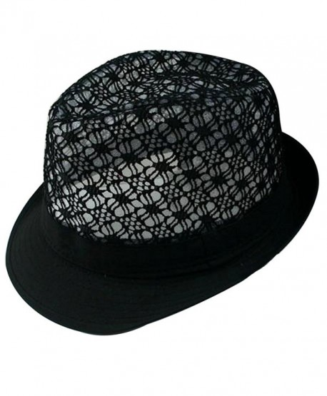 f6c24b7761f1be LerBen Women Summer Beach Colorful Brim Fedora Hat Sun Hats - Black -  CS12G2KRA91