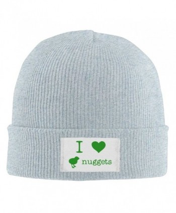 I Love Chicken Nuggets Men's Stretch Fleece Skull Beanie Hat Printed Cherished Knit Fleece Hat - Ash - C512N1S2YAT