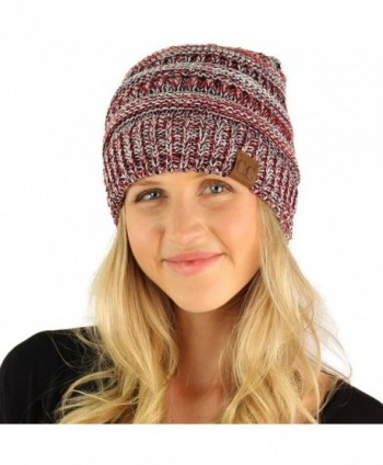 CC Quad Color Warm Chunky Thick Soft Stretch Knit Slouch Beanie Skull Hat -  Silver - 36155b23dbf6
