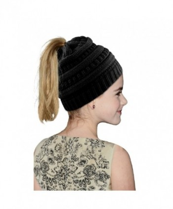 Vanzon Winter Warm Knitted Ponytail Beanie Hat Messy High Bun Beanie Soft Stretch Cap - Black - CJ188N3UQX6