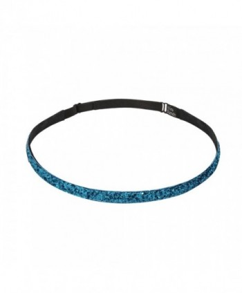 Bani Bands Women's Glitter Skinny Adjustable Headband with Non-Slip Lining - Turquoise - C211EAPXBZN