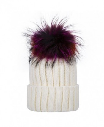 Womens Girls Winter Detachable Large Raccoon Fur Pom Pom Cap Knit Beanie Hat - White - CT1867Y8NIU