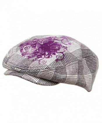 Flower Checkered Ivy Hat-Purple - CC111ZIJEAT