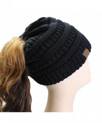 Hatsandscarf CC Exclusives Solid Color Beanie Tail Hat For Adult (MB-20A) - Black - CK12O40XBQG